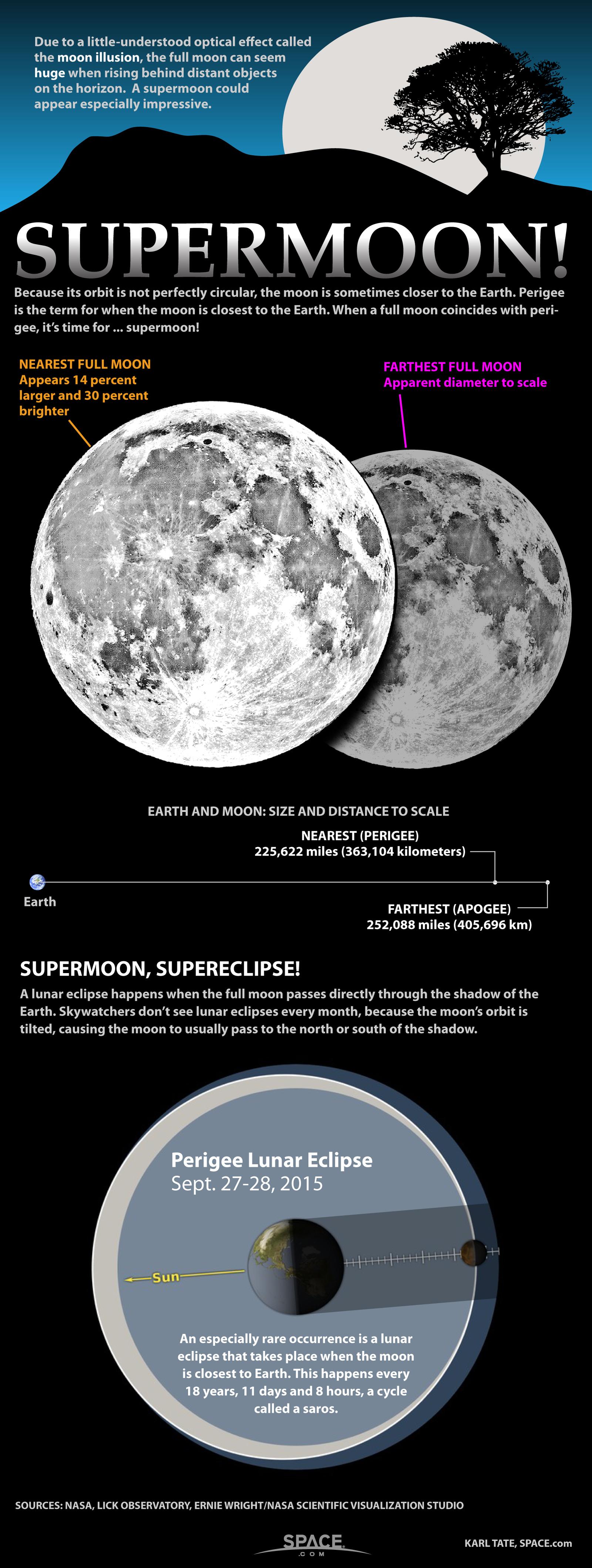 Les supermoons peuvent apparaître 30% plus brillantes et jusqu'à 14% plus grandes que les pleines lunes typiques.  Découvrez ce qui fait d'une grande pleine lune une véritable `` super lune '' dans cette infographie de Space.com.