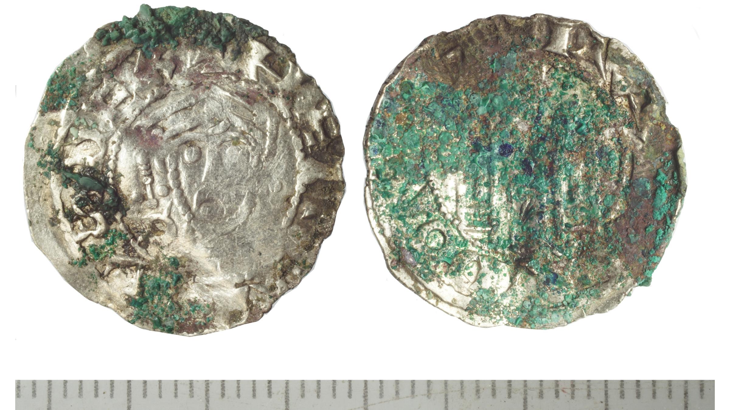 Un denier (pièce d'argent) d'Henri III, roi d'Allemagne