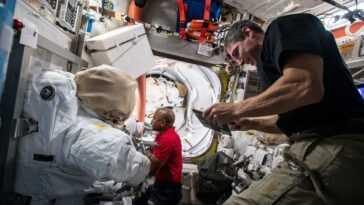 Les Astronautes Font Une Sortie Dans L'espace Aujourd'hui Pour Mettre