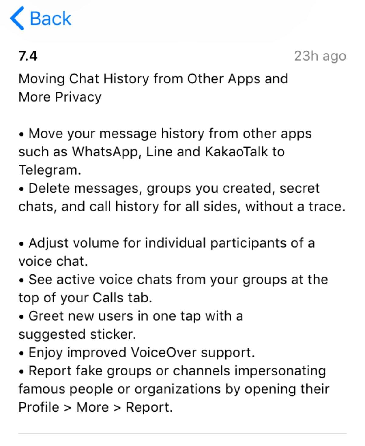 Voici les changements que Telegram version 7.4 intègre