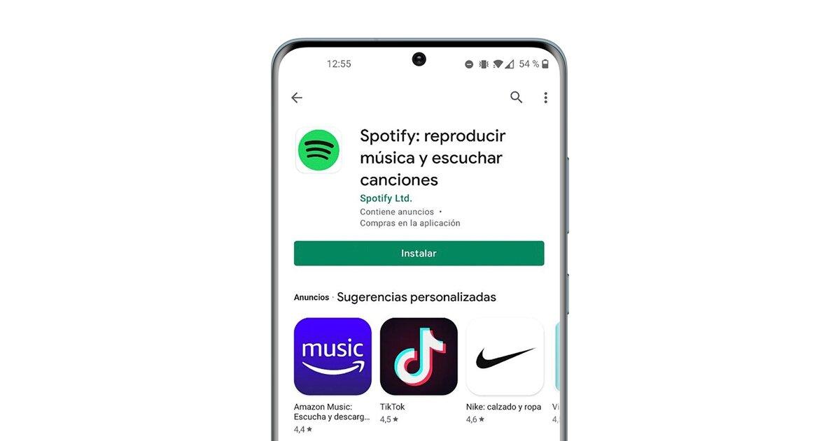 Page de téléchargement de Spotify sur Google Play
