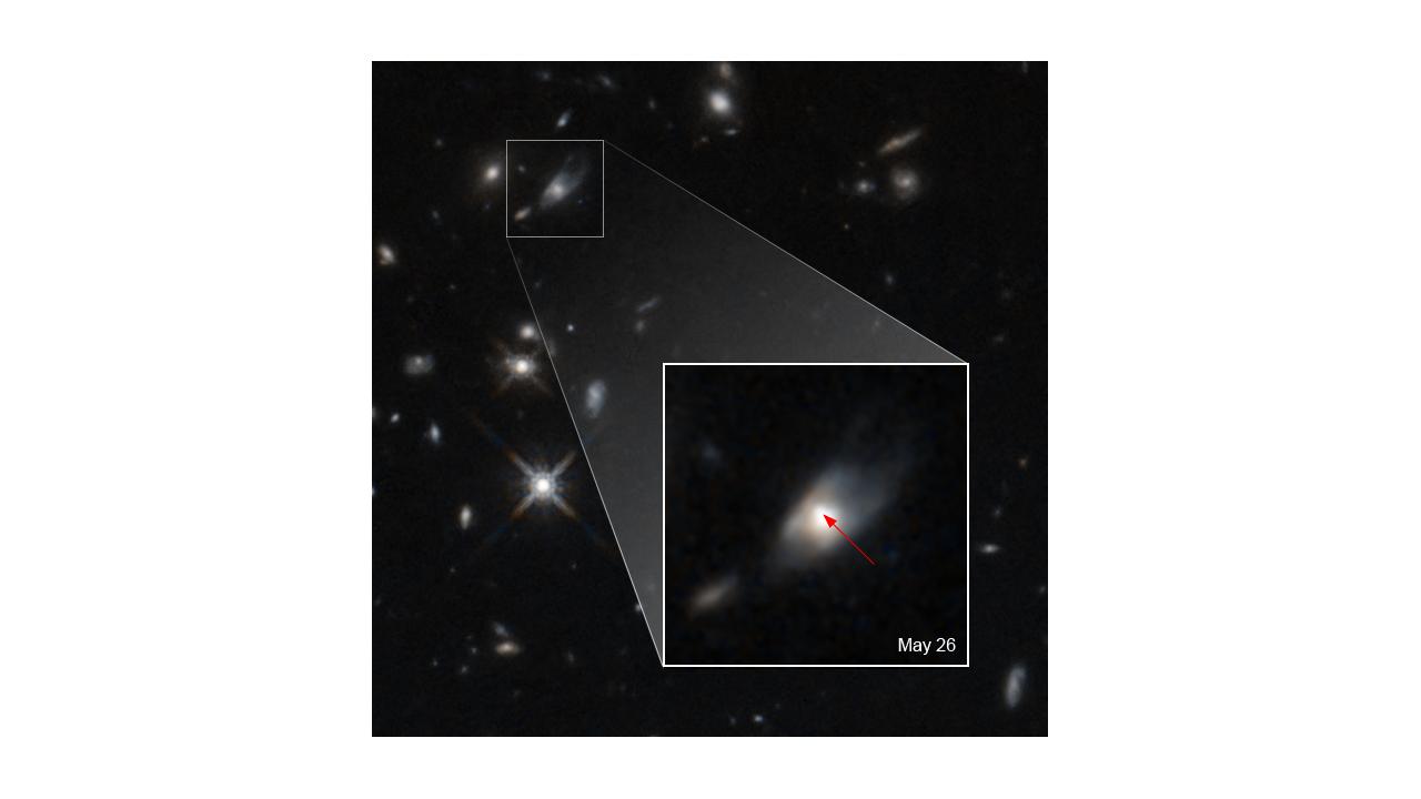 Une image du télescope spatial Hubble montre la partie du ciel d'où provient le motif lumineux inhabituel, indiquant la naissance d'un magnétar.