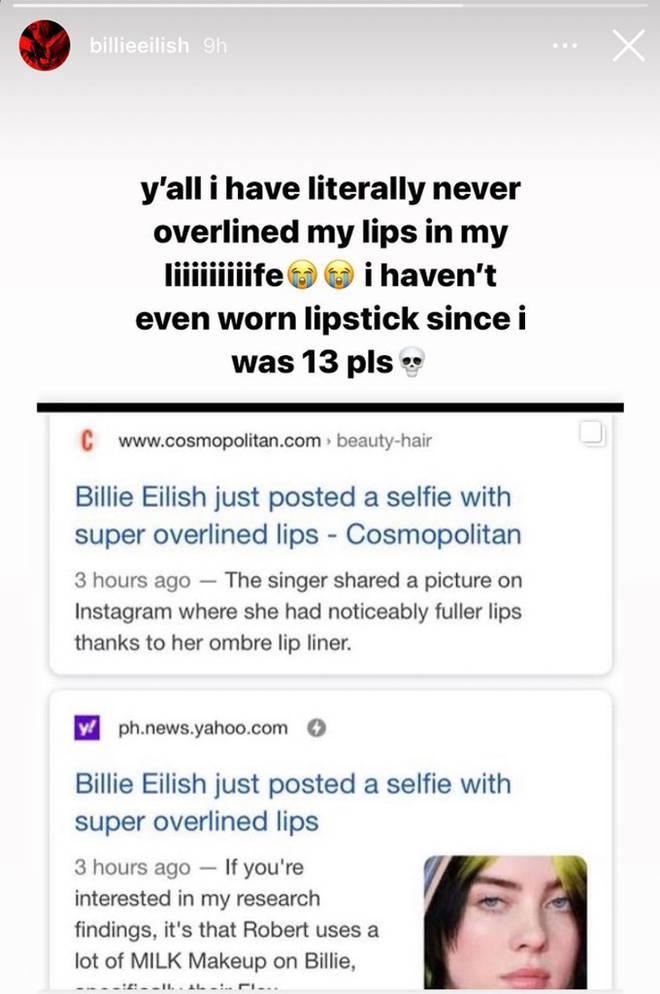 Histoire Instagram de Billie Eilish