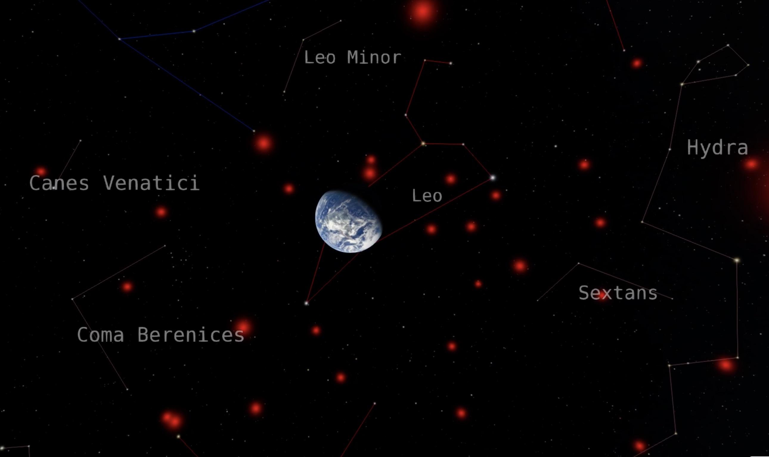 Des scientifiques citoyens et des astronomes professionnels ont collaboré pour trouver des naines brunes dans le voisinage de notre système solaire.  Cette image montre la Terre entourée des naines brunes les plus proches, montrées en rouge, sur fond de constellations environnantes.