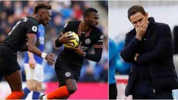 `` Des trucs fous '': l'as de Chelsea Abraham défend son coéquipier Rudiger après que l'Allemand soit pris pour cible par des fans furieux de la sortie de Lampard