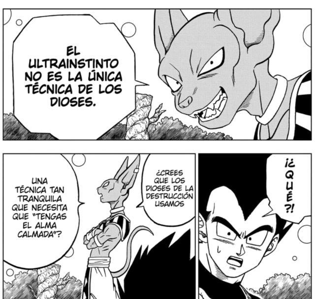 Bills révèle à Vegeta qu'il existe d'autres techniques divines telles que l'Ultra Instinct (Photo: Mangaplus)