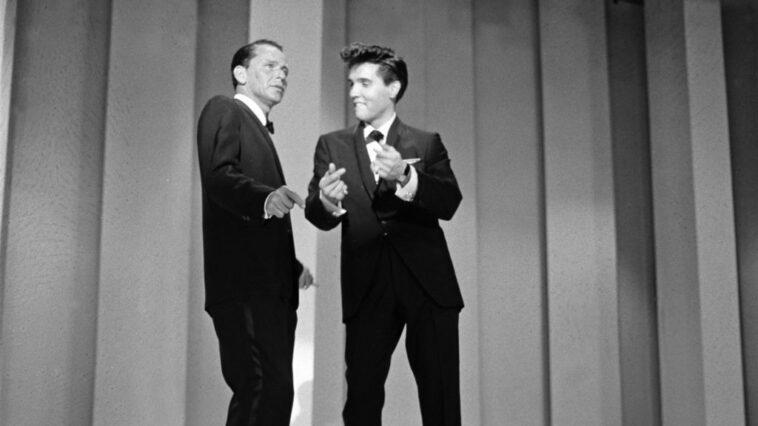 Frank Sinatra and Elvis Presley perform together on stage