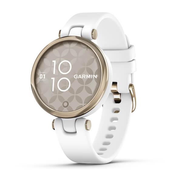 Garmin Lily Sport - Lunette en or crème avec étui en silicone blanc et bracelet