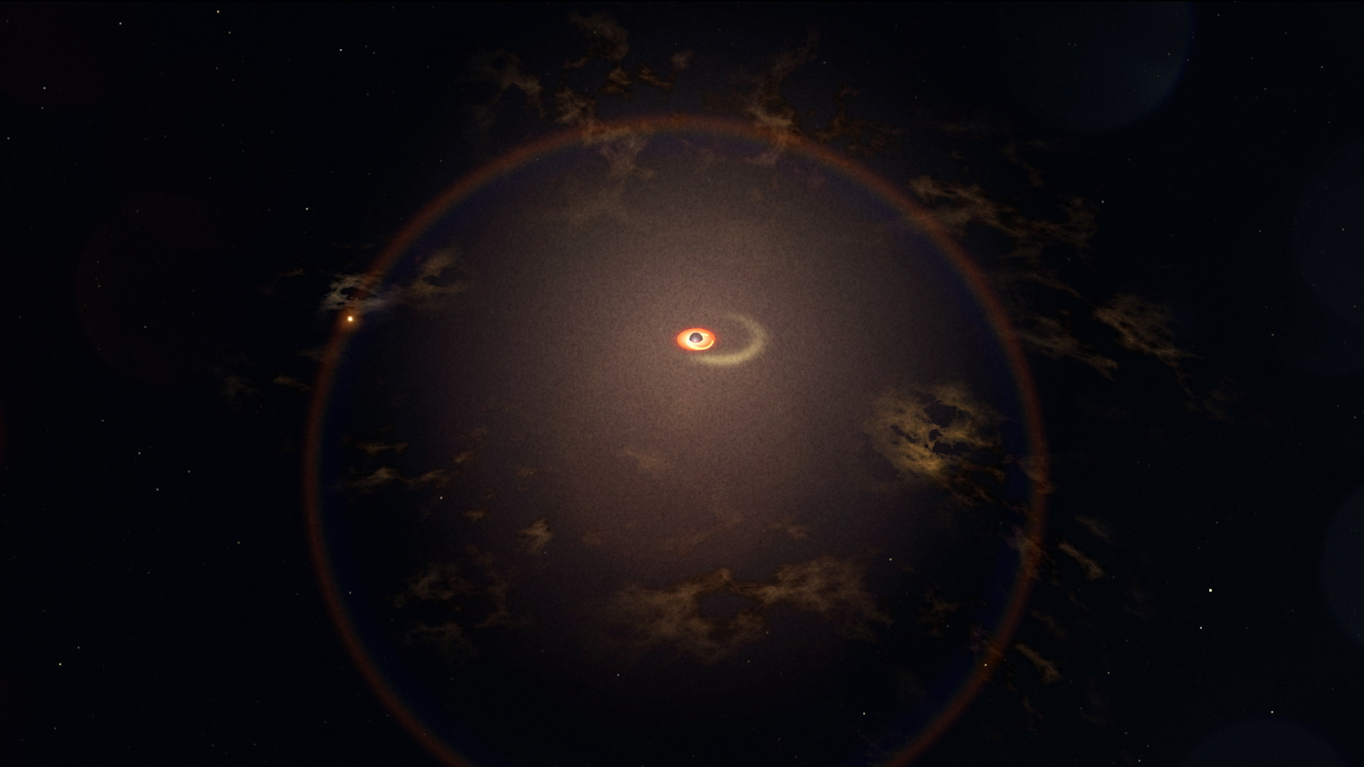 Un trou noir monstre siphonne le gaz d'une étoile géante en orbite dans cette illustration.