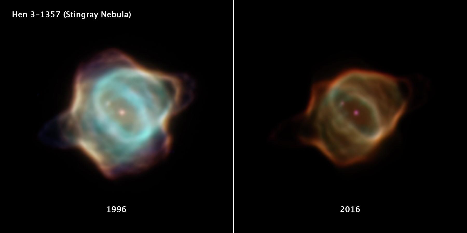 Le télescope spatial Hubble de la NASA a capturé des photos de la nébuleuse Stingray en 1996 et 2016, montrant une différence dramatique dans la luminosité et la forme de la nébuleuse sur 20 ans.