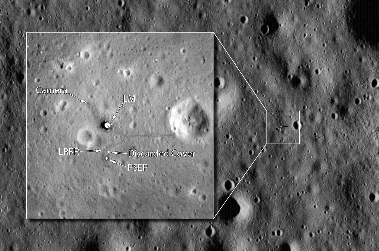 Le site d'atterrissage d'Apollo 11, Tranquility Base, vu de l'orbite par Lunar Reconnaissance Orbiter de la NASA.