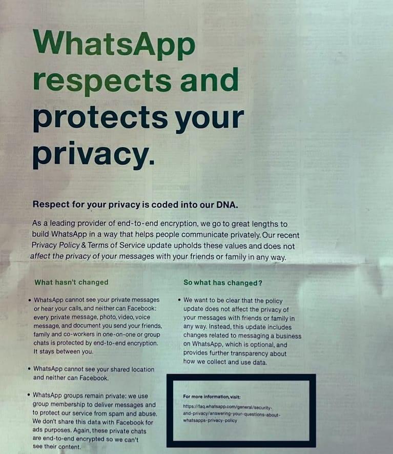 Annonce WhatsApp dans un journal national.