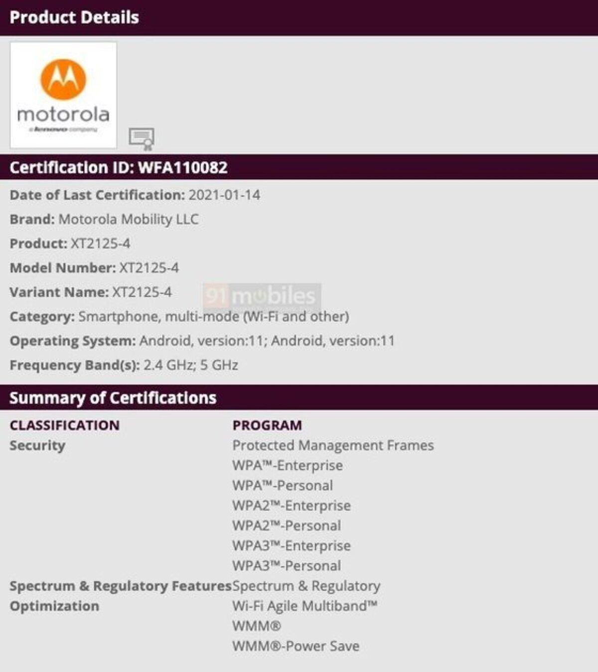 Le Motorola Nio se rapproche de son introduction en recevant la certification Wi-Fi Alliance