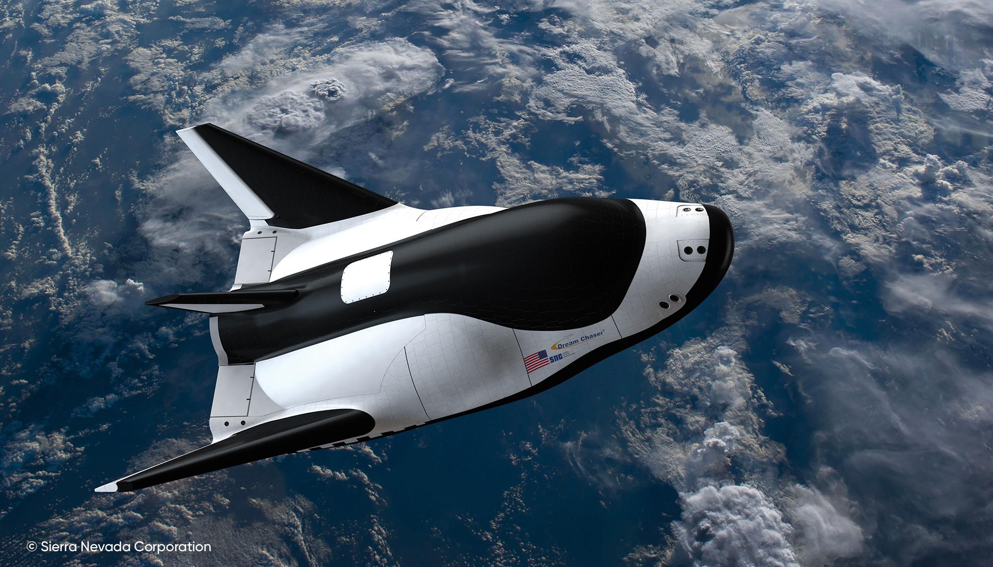 Illustration de l'artiste de l'avion spatial Dream Chaser de la Sierra Nevada en orbite.