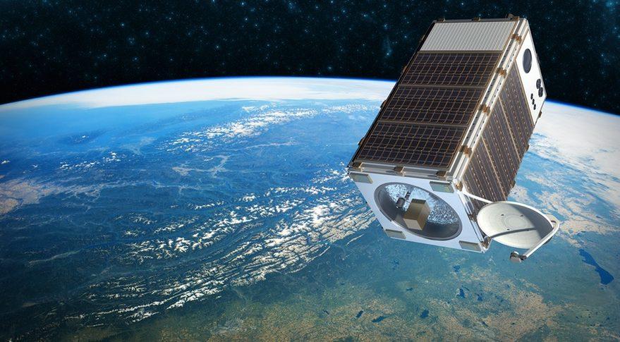 Une illustration de MethaneSAT, un petit satellite conçu pour suivre les émissions de méthane provenant des activités humaines.  La conception du vaisseau spatial est toujours en cours de développement.