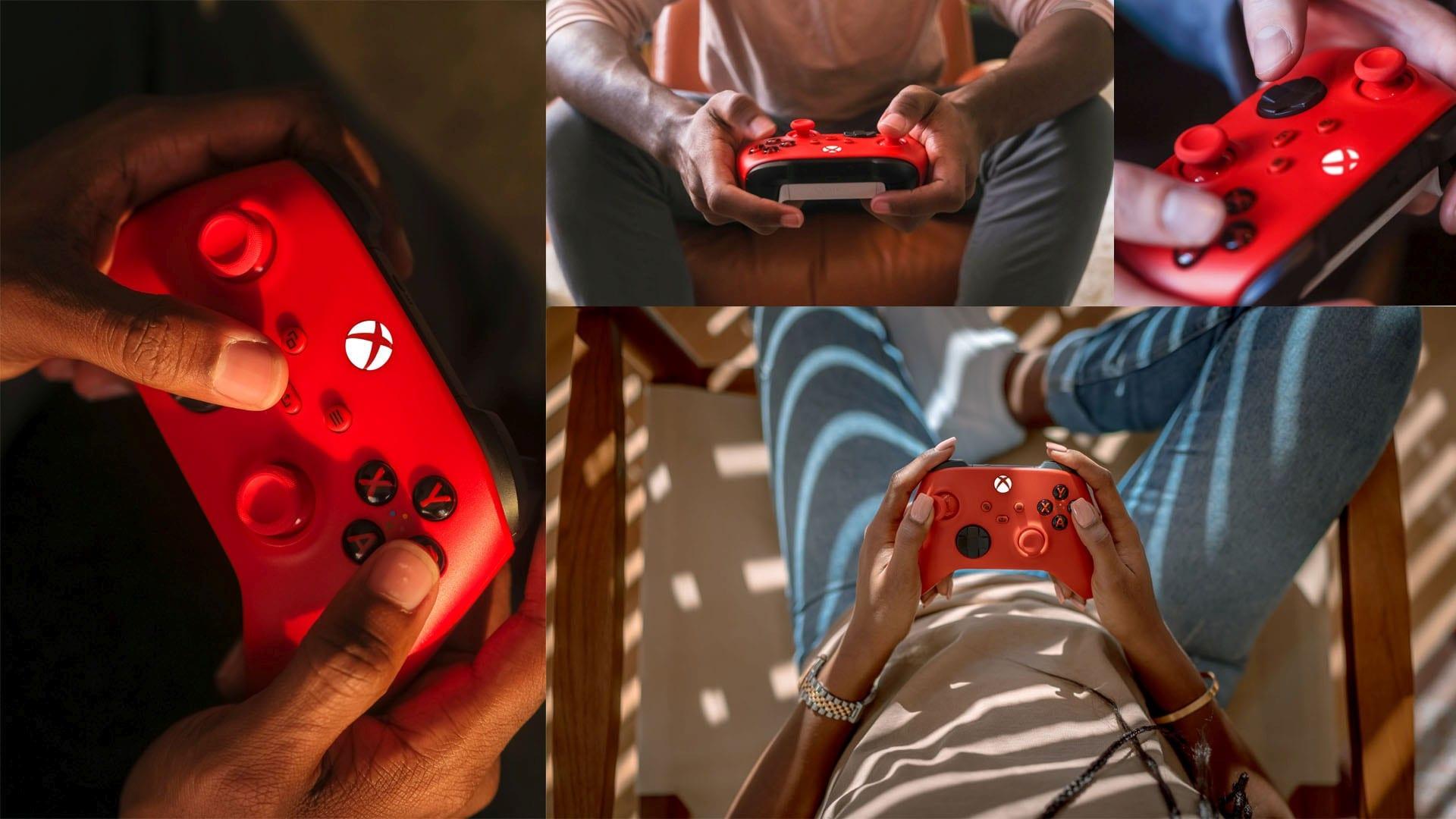 Manette Xbox Pulse Red en mains