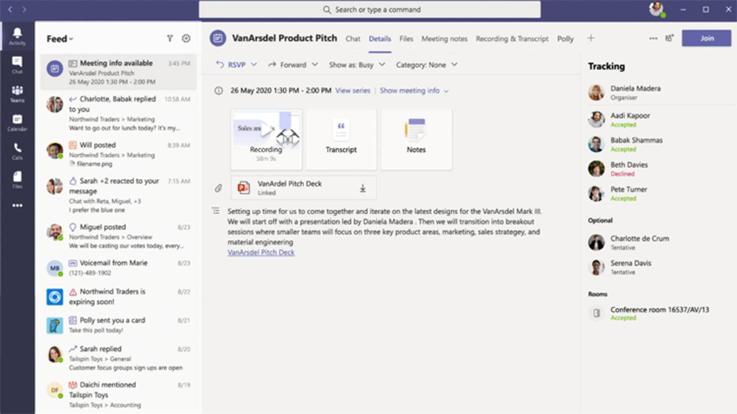 Résumés dans Microsoft Teams