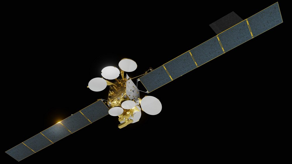 Illustration d'artiste du satellite Turksat 5A en orbite.