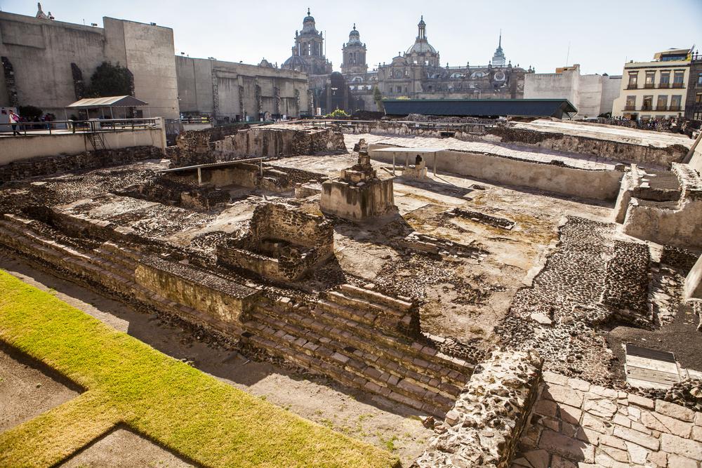Une partie du site de fouilles du Templo Mayor à Mexico.