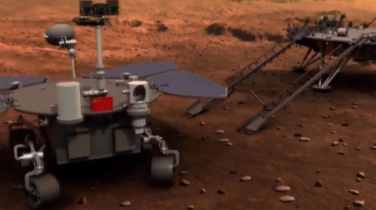 Concept d'artiste de la première mission de rover sur Mars en Chine, Tianwen-1, sur la planète rouge.