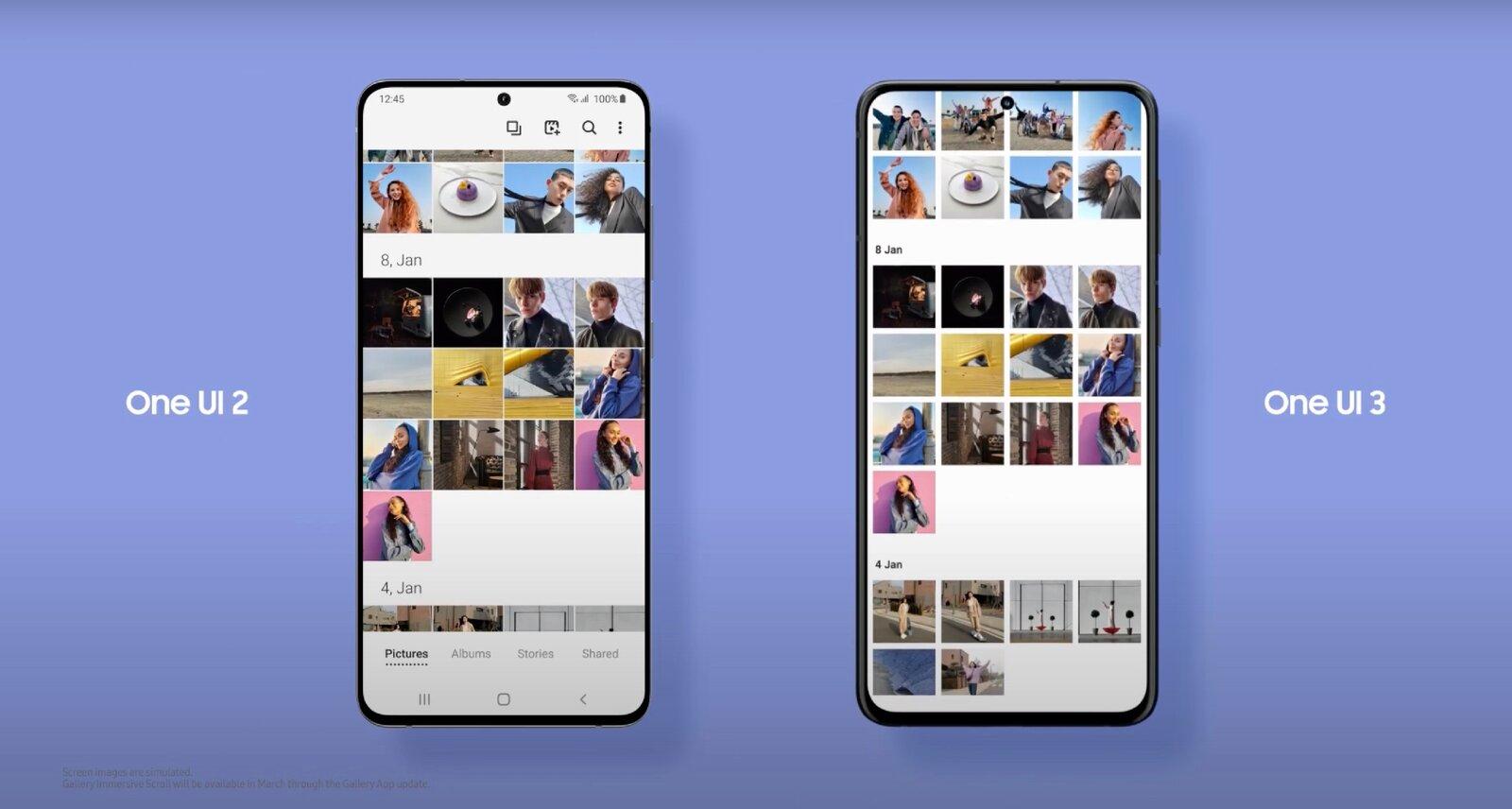 L'application de galerie One UI