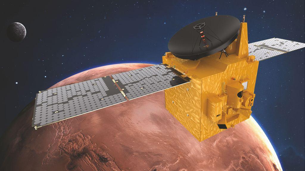 Représentation d'artiste de l'orbiteur Hope Mars des EAU.