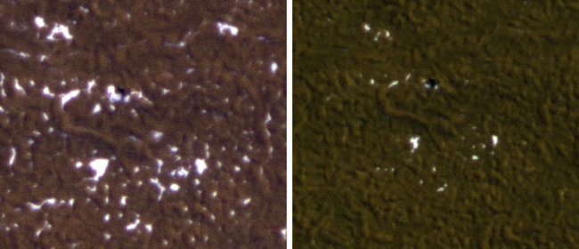 Les étapes de la disparition saisonnière de la glace de surface du sol autour du Phoenix Mars Lander sont visibles sur ces images prises le 8 février 2010 (à gauche) et le 25 février 2010, au printemps sur le nord de Mars, par Mars Reconnaissance Orbiter de la NASA. .