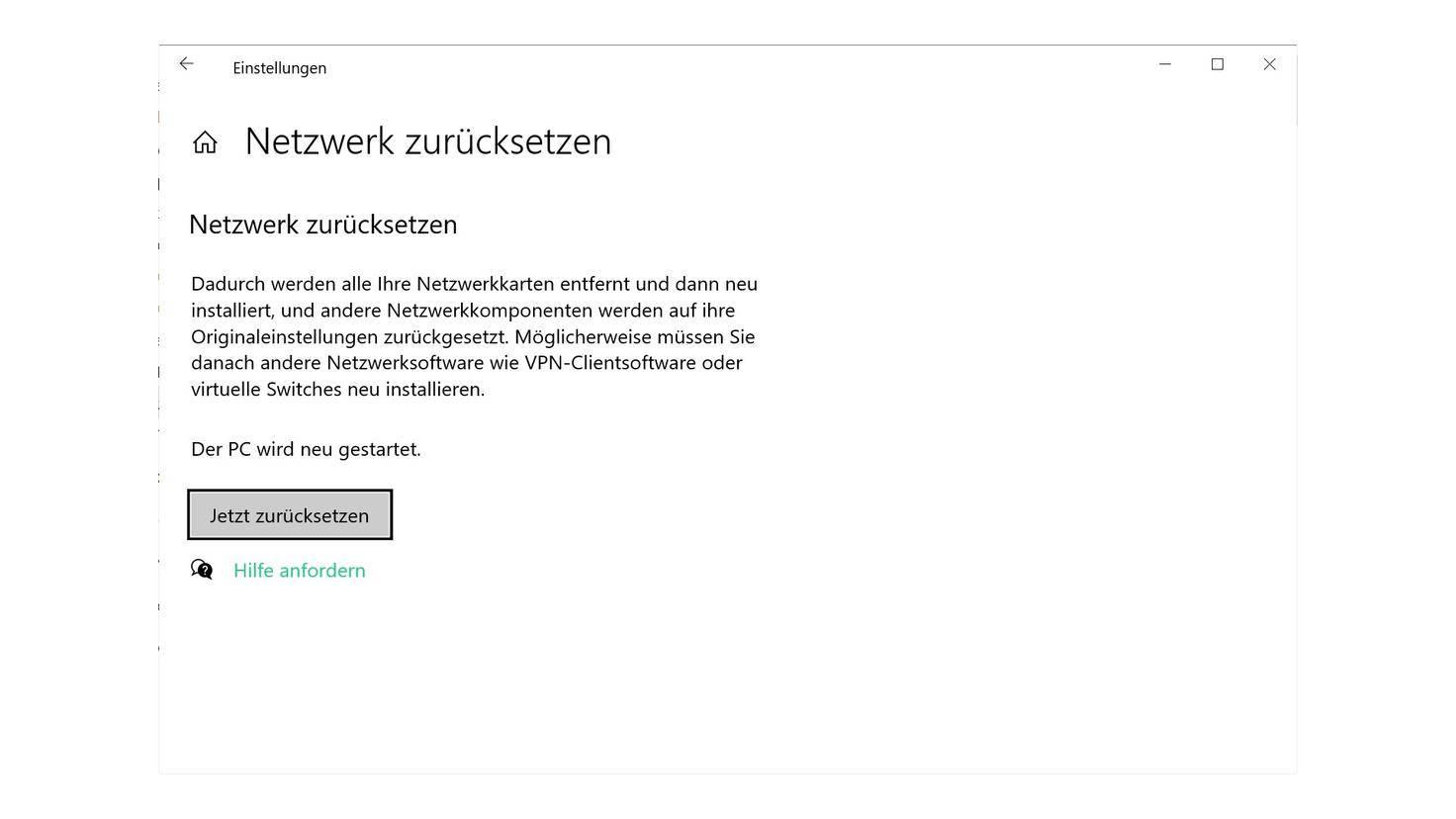 réinitialisation du réseau windows-10