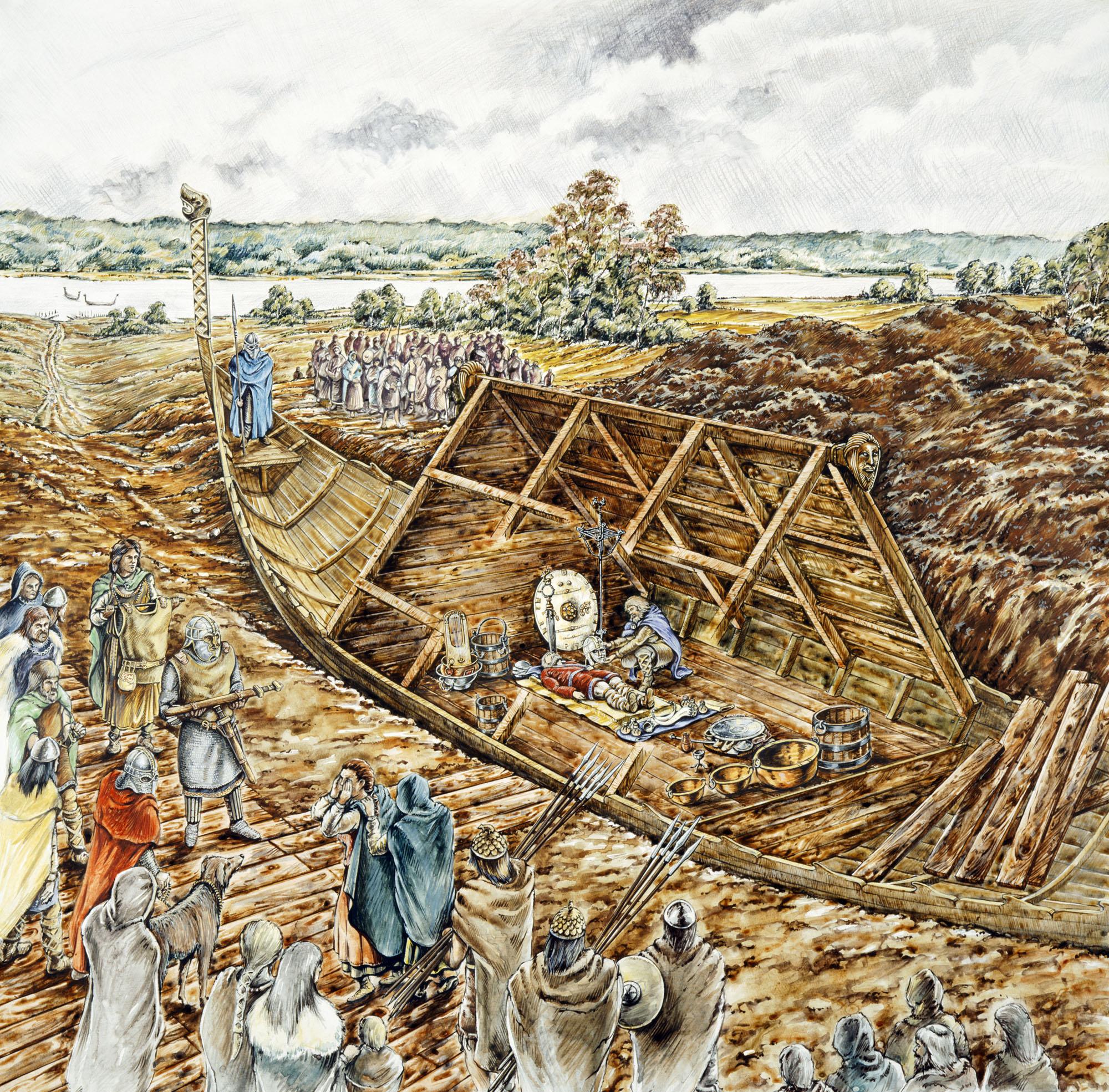 Dans ce dessin de reconstitution, l'enterrement du navire Sutton Hoo contient une multitude d'artefacts anglo-saxons et le corps de ce qui est probablement un roi d'East Anglia.