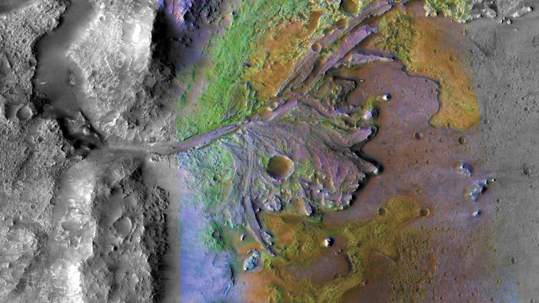 Mars 2020 de la NASA atterrira dans le cratère de Jezero, illustré ici.  L'image a été prise par des instruments sur Mars Reconnaissance Orbiter de la NASA, qui prend régulièrement des images de sites d'atterrissage potentiels pour de futures missions.
