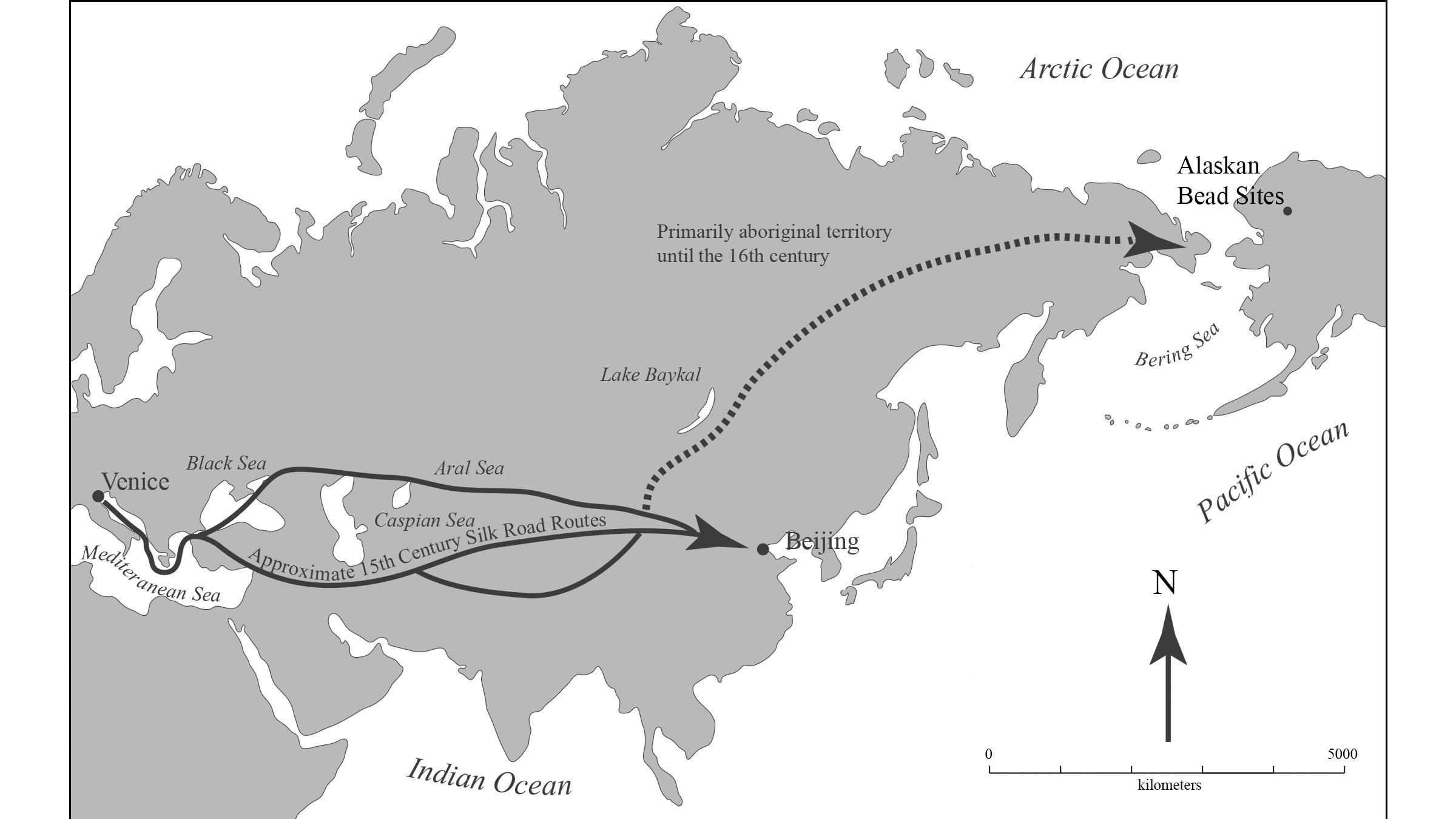 On ne sait pas comment les perles sont arrivées de l'Europe à l'Alaska, mais les itinéraires possibles sont mis en évidence ici.