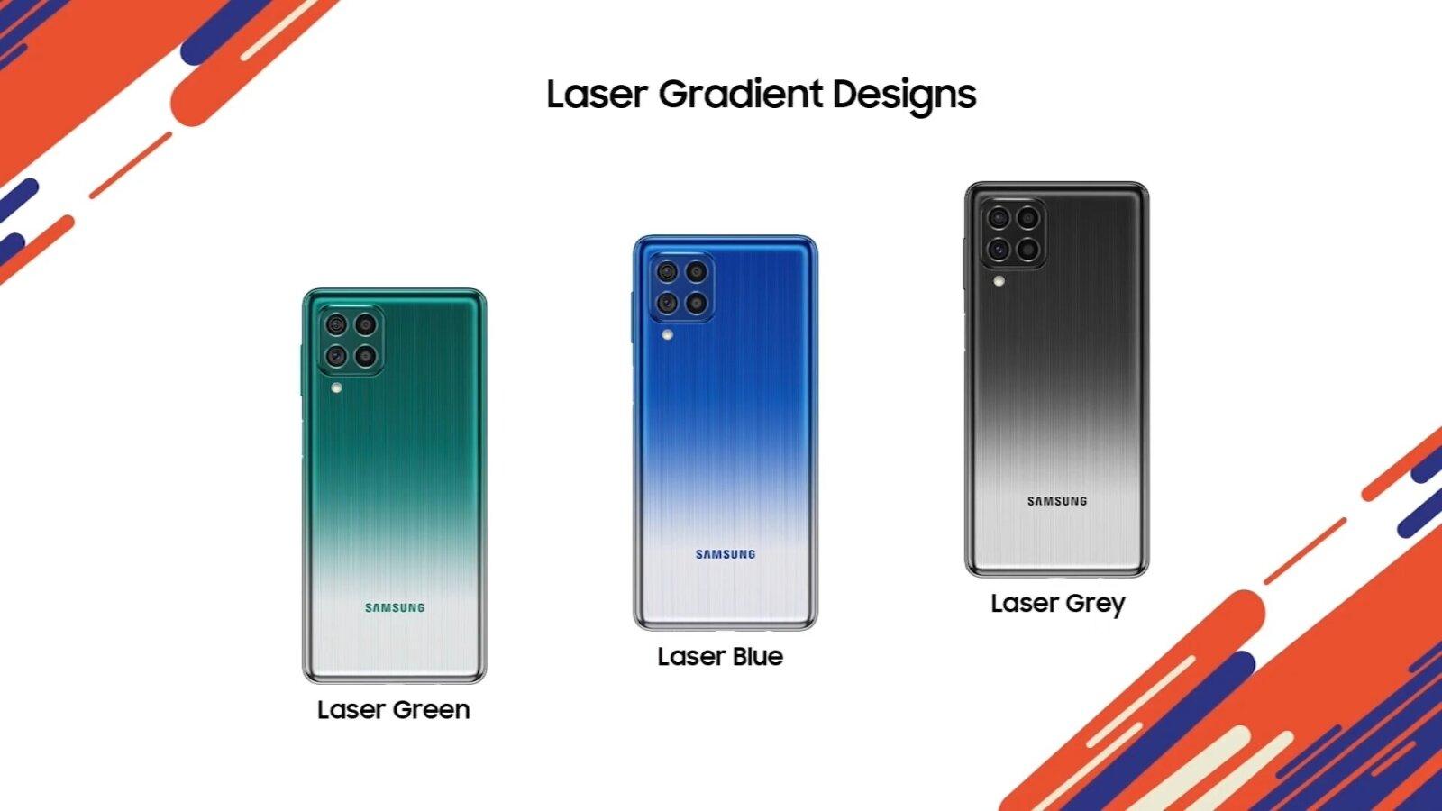 Voici les trois couleurs disponibles du Samsung Galaxy F62