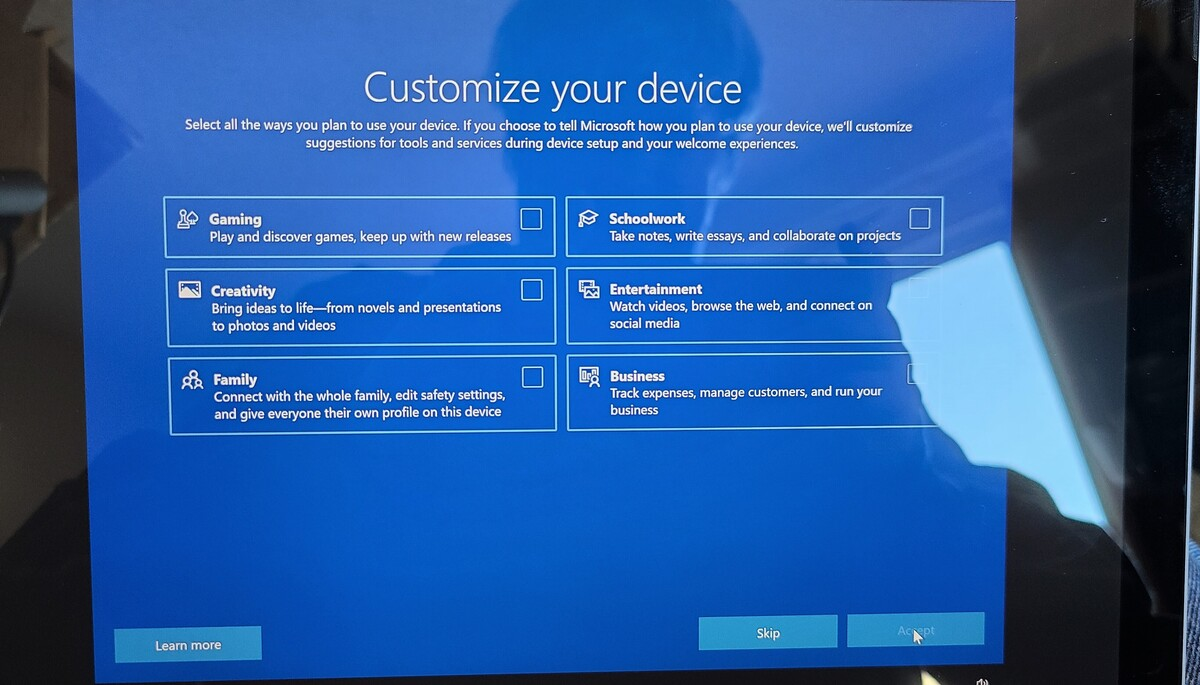 écran de configuration Microsoft Surface Pro 7 Plus