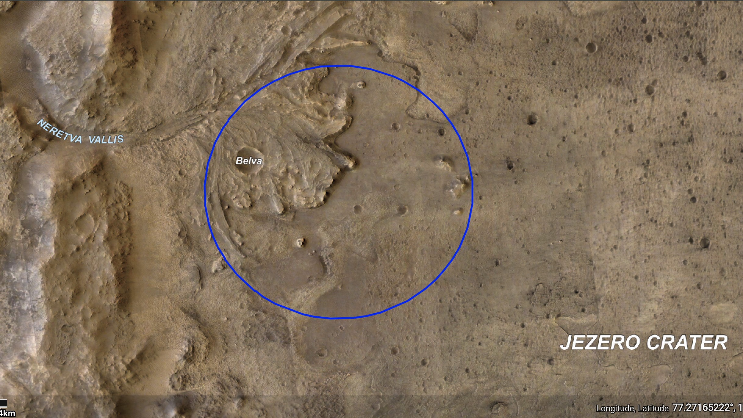 L'équipe de la NASA cible une certaine zone du cratère Jezero (ellipse bleue) pour atterrir.  Ils ont choisi l'emplacement avec la mission de la persévérance à l'esprit: ils recherchent des signes de la vie microbienne ancienne.  Pour trouver ces indices, Perseverance recueillera des échantillons de roches et de régolithes, ou de roches brisées et de poussière.