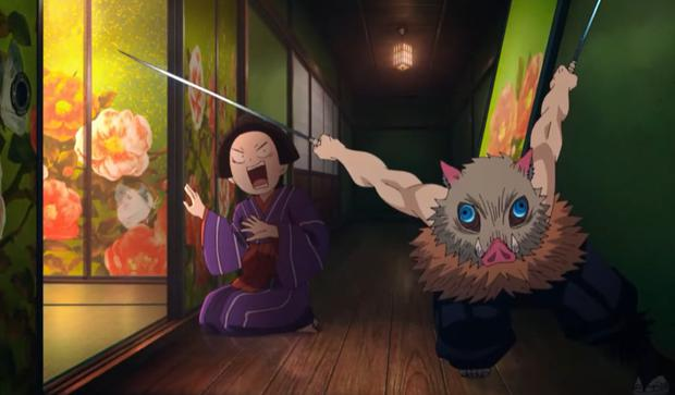 Comme prévu, Inosuke est toujours aussi impulsif que jamais (Photo: Crunchyroll)