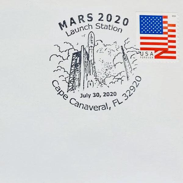 L'artiste Detlev van Ravenswaay et le philatéliste Stephen Stein ont auparavant collaboré sur le cachet de la poste USPS pour le lancement le 30 juillet 2020 du rover Perservance de la NASA.