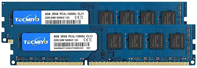 Kit TECMIYO 16 Go (2x8 Go) DDR3 RAM PC3-12800U 1600MHZ PC3L-12800 DDR3L 1600 UDIMM CL11 1.35V / 1.5V 240Pin Non-ECC Unbuffered 2RX8 Dual Rank Desktop Memory Ram Module