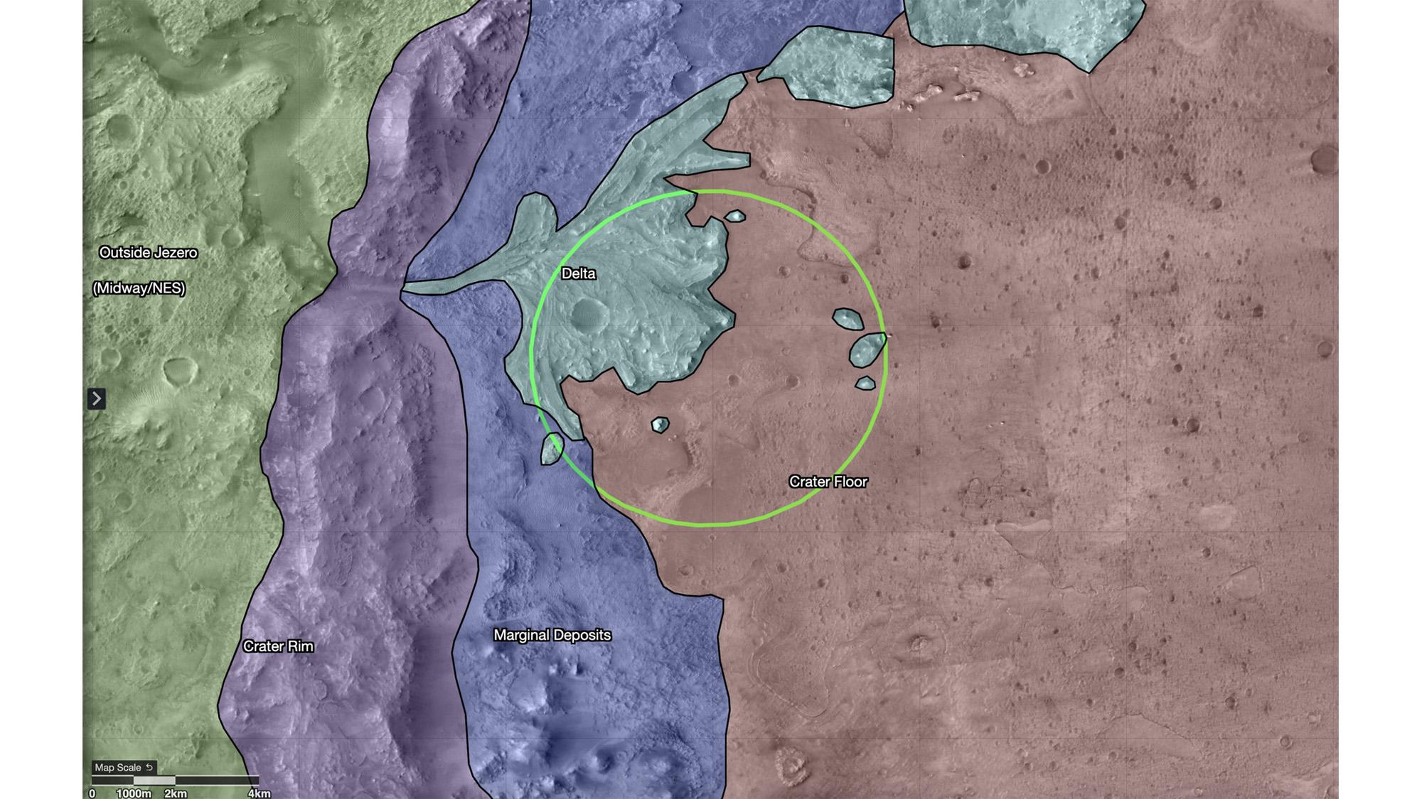 Cette carte montre les régions dans et autour du cratère Jezero sur Mars, le site d'atterrissage du rover Perseverance de la NASA.  Le cercle vert représente l'ellipse d'atterrissage du rover.  La carte a été créée dans un outil appelé Campaign Analysis Mapping and Planning (CAMP), développé par le Jet Propulsion Laboratory de la NASA, une division de Caltech en Californie du Sud, qui gère la mission du rover Mars 2020 Perseverance pour la Direction des missions scientifiques de la NASA à Washington.  Les données de la carte ont été fournies par l'expérience scientifique d'imagerie à haute résolution (HiRISE), l'une des caméras à bord de Mars Reconnaissance Orbiter de la NASA, également gérée par le JPL.  L'Université de l'Arizona, à Tucson, exploite HiRISE, qui a été construit par Ball Aerospace & Technologies Corp., à Boulder, Colorado.