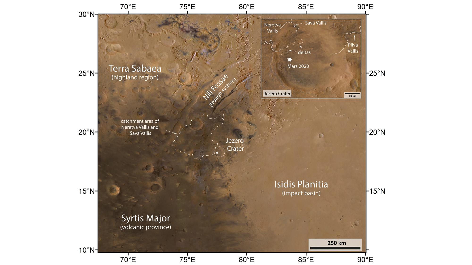 Cette carte annotée du cratère Jezero sur Mars a été créée à partir des canaux rouge, vert et bleu de la caméra stéréo haute résolution sur Mars Express de l'ESA, combinés avec des données haute résolution de son canal nadir, qui est dirigé perpendiculairement à la surface de Mars.