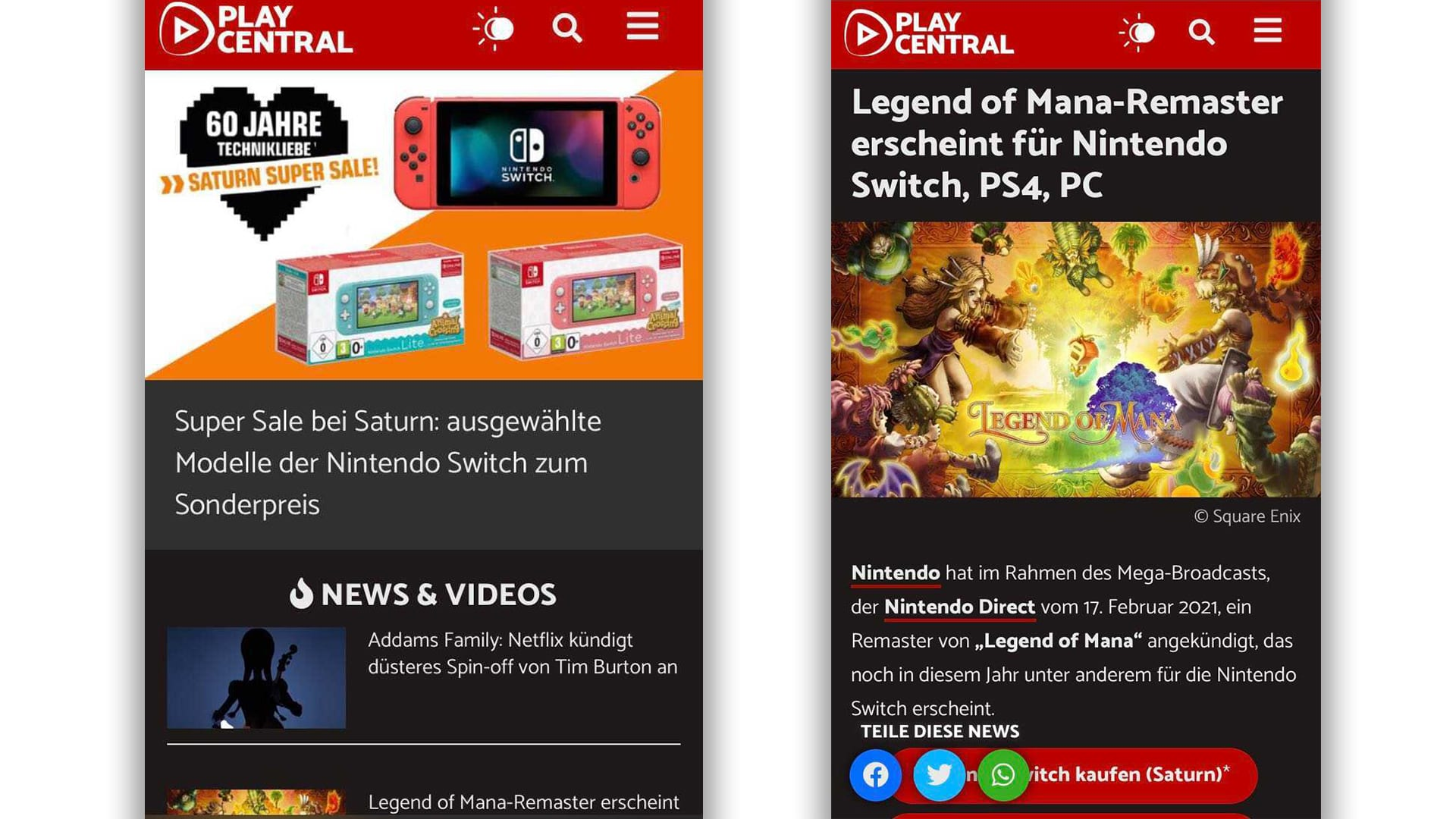 Mobile PlayCentral en mode sombre