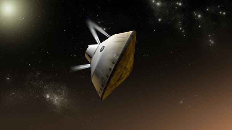 Cette impression d'artiste montre des propulseurs contrôlant l'angle de l'engin spatial lors de l'entrée sur Mars de MSL 2012.  Mars 2020 utilisera la même technique.
