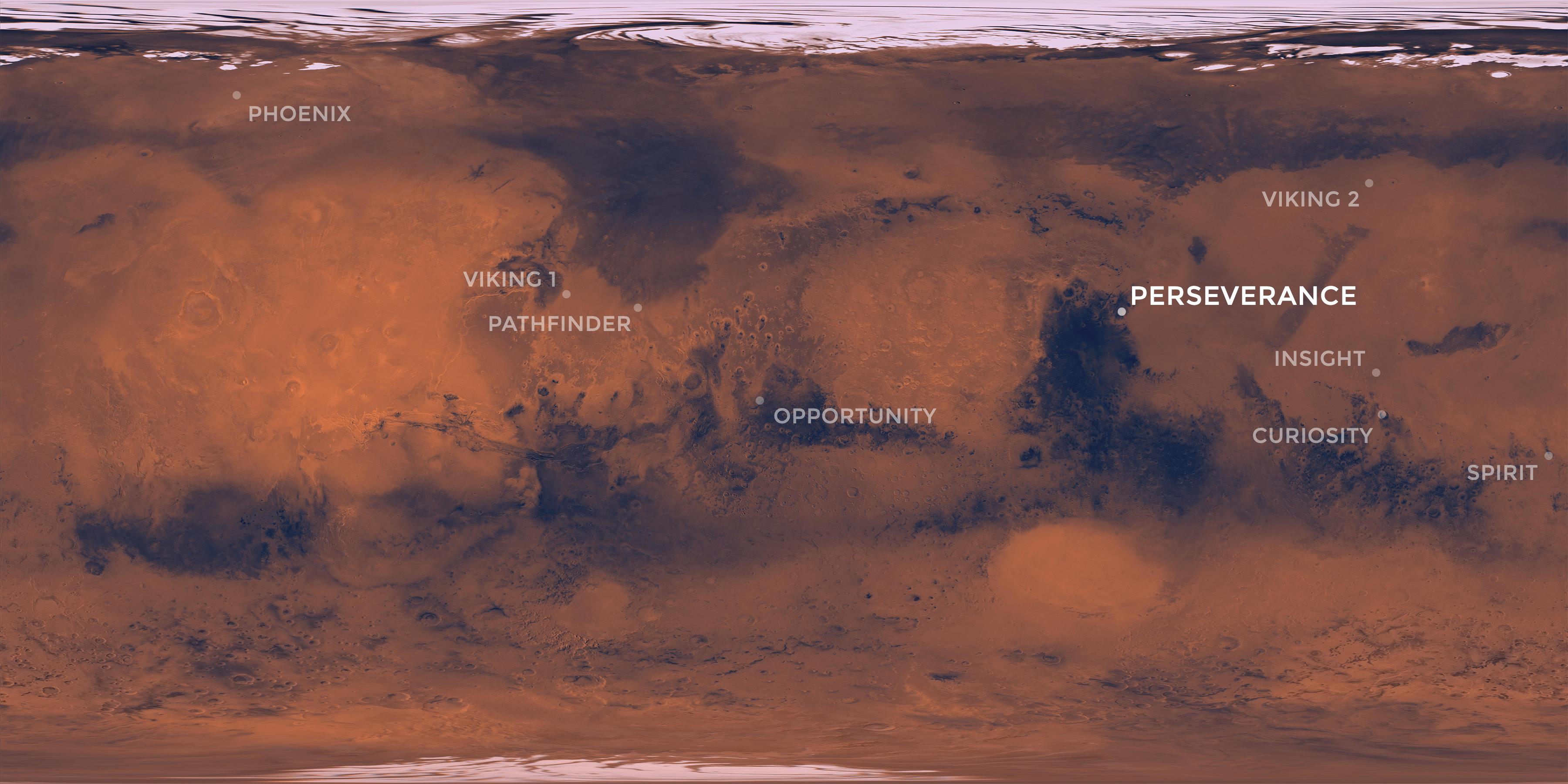 Cette carte de Mars montre le site d'atterrissage du rover Perseverance de la NASA dans le cratère Jezero, ainsi que les endroits où toutes les autres missions réussies de la NASA sur Mars ont atterri.