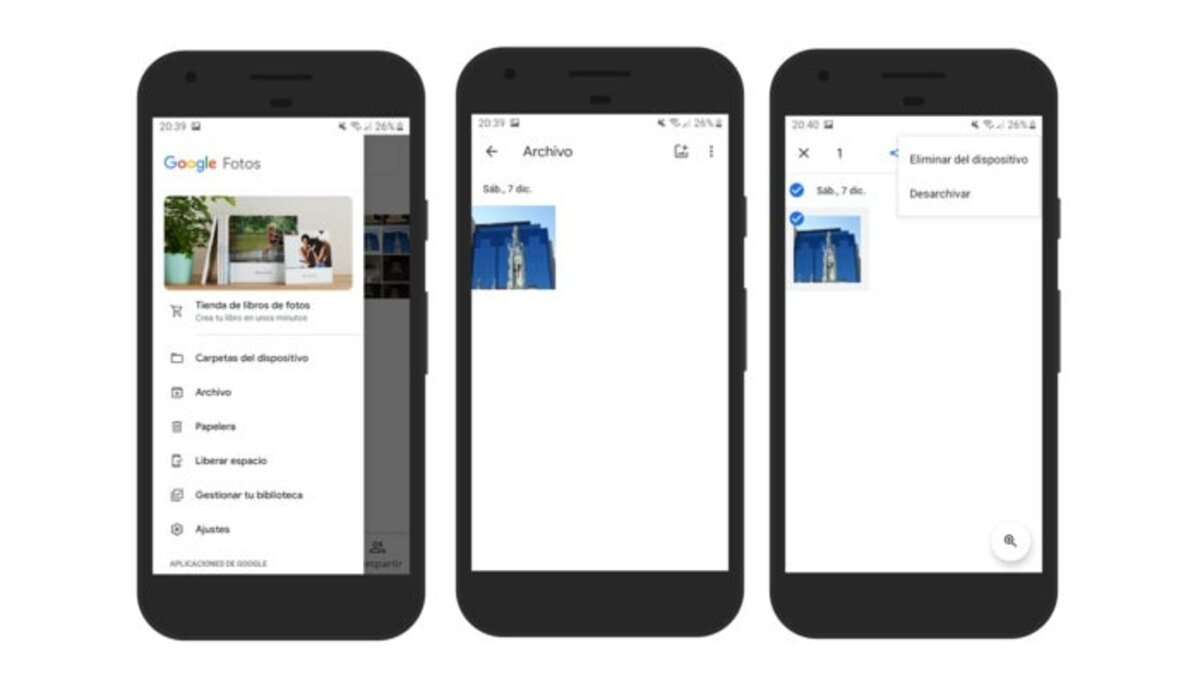 Désarchiver les photos dans Google Photos