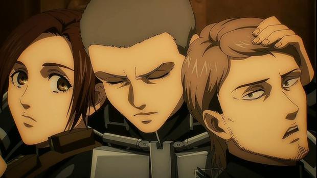"""Connie avec ses meilleurs amis Shsha et Jean dans """"Attack on Titan"""" (Photo: MAPPA Studio)"""