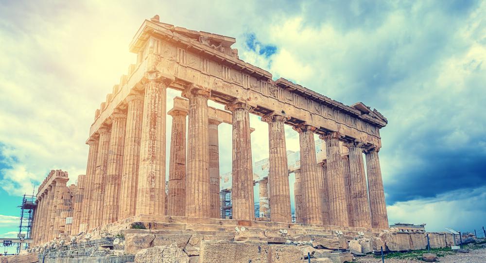 Vestiges du Parthénon, l'un des bâtiments de l'acropole d'Athènes.
