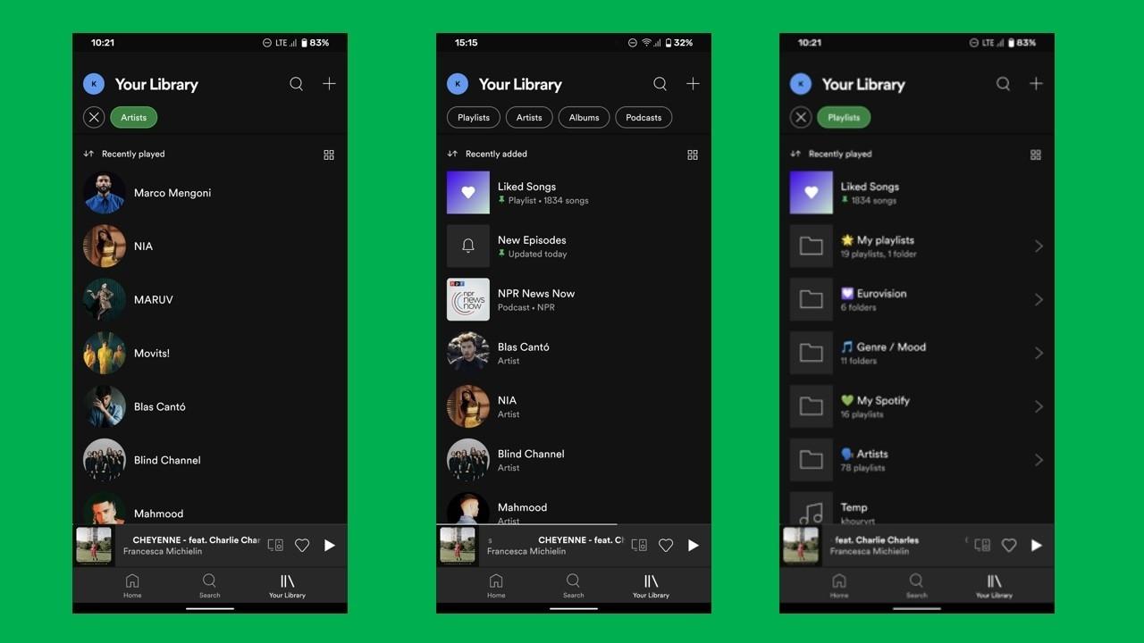 Nouvelle mise en page de la playlist Spotify.  Image: Police Android
