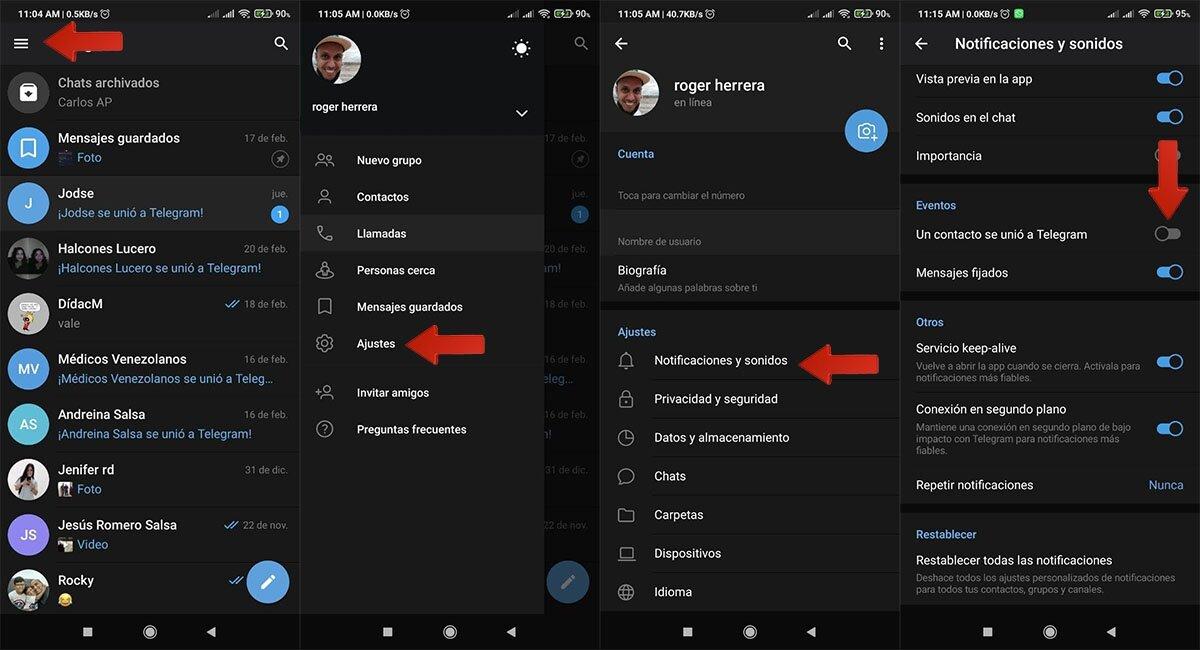 Étapes pour éviter la notification d'un nouvel utilisateur dans Telegram
