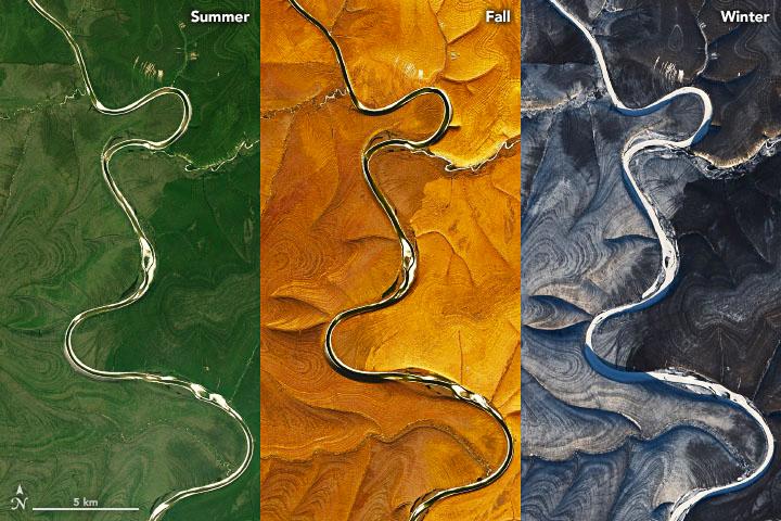 Les rayures couvrant une partie du plateau sibérien central varient selon la saison.