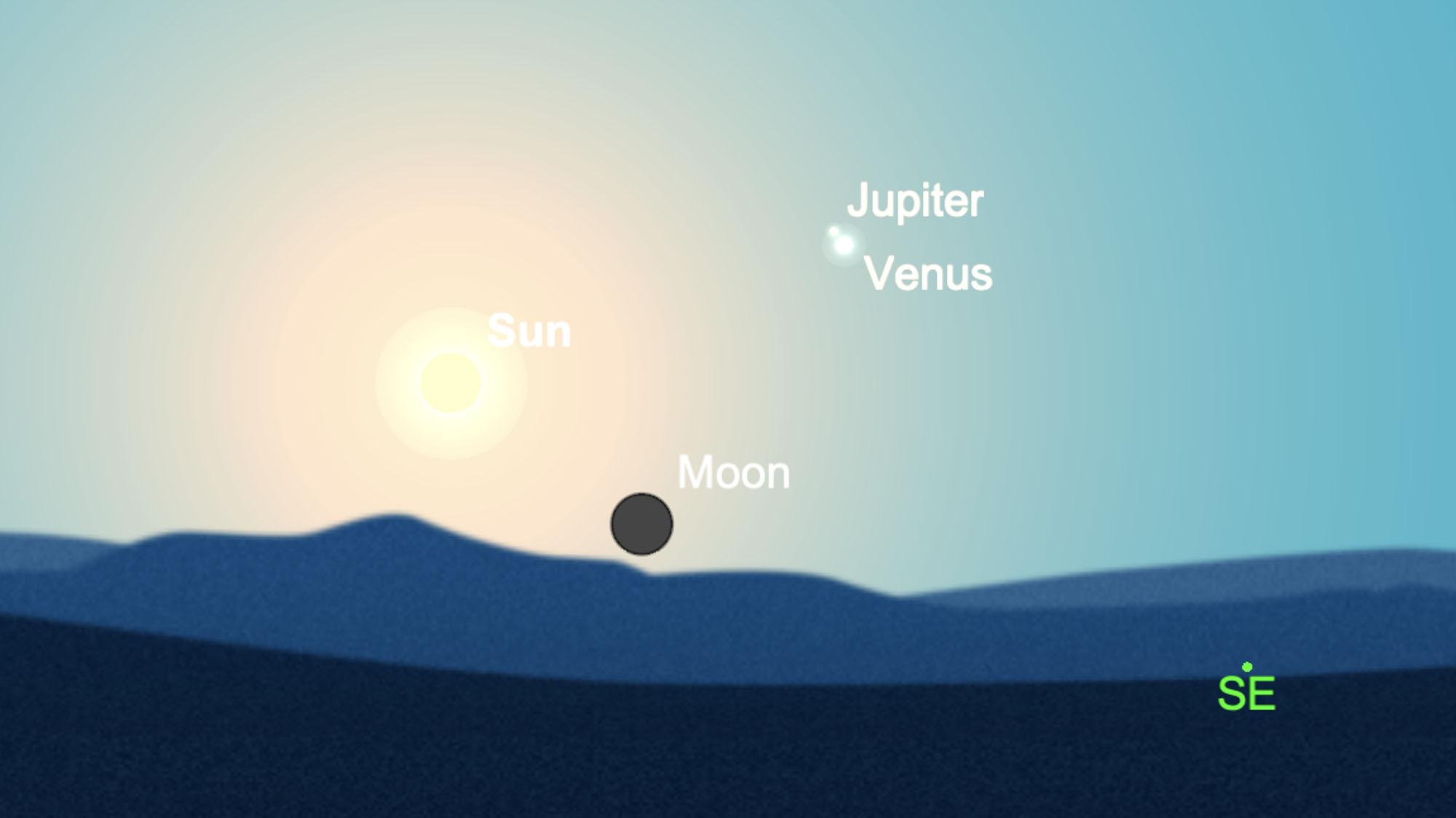 Cette carte du ciel montre Vénus près de Jupiter peu de temps après le lever de la nouvelle lune le matin du 11 février 2021.