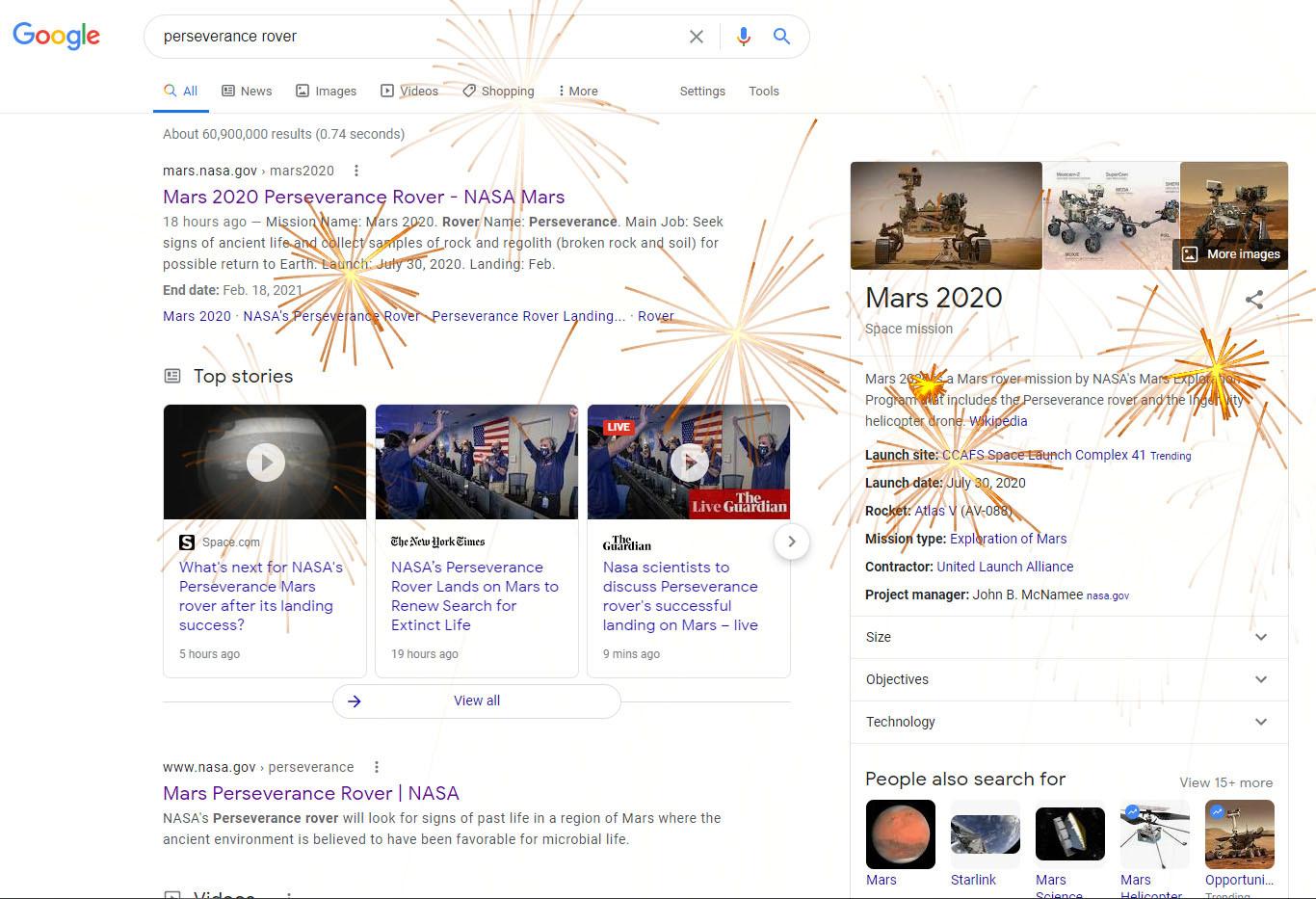Des feux d'artifice rouges tachent la page lorsque vous Google